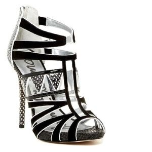 SAM EDELMAN Black White Snake Embossed Sandals